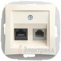 "Розетка с/п телефон+компьютер RJ11+RJ45  ""Дуэт"" крем  (Schneider Electric)"